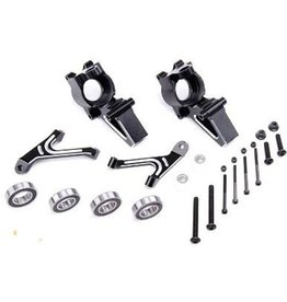 Rovan CNC Black/white front hub carrier set
