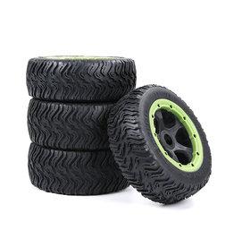 Rovan BAHA 5T / 5SC / 5FT Straßenreifenbaugruppe der dritten Generation für das gesamte Fahrzeug (schwarzer Rahmen) mit schwarzem, rotem, grünem, blauem oder gelbem Beadlock vorne 180x60 + hinten 180x70 (4er-Set)