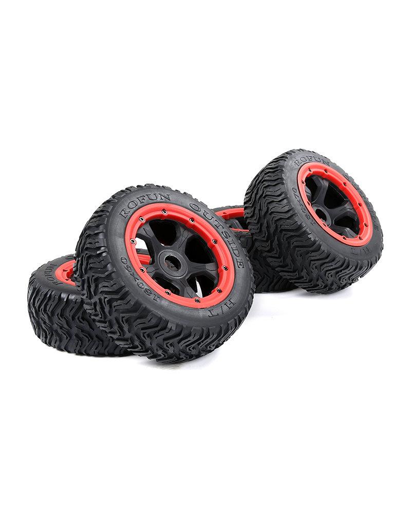 Rovan BAHA 5T / 5SC / 5FT 3e generatie wegbanden voor het hele voertuig zwart frame met zwart, rood, groen, blauw of geel beadlock voorbanden 180x60 + achterbanden 180x70 (set van 4)