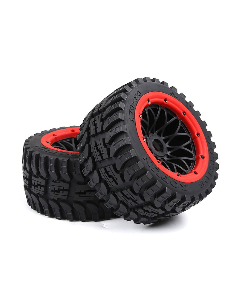 Rovan Baha 2nd gnt AT (all terrain) achterwielen 170x80 (2 stuks) met zwarte velg en verschillende kleuren beadlocks