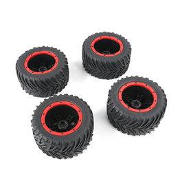 Rovan 1/8  Torland Herringbone wheel tires sets 4pcs 160*80 with red or black beadlock