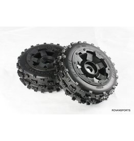 Rovan Font tires Knobby 170x60 with black rim and black or red beadlock (2pc)