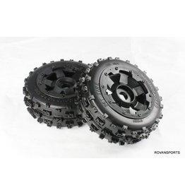 Rovan New front knobby wheel set (2pc) 170x60 / voorbanden Knobby 170x60 met zwarte velg en zwarte of rode beadlock