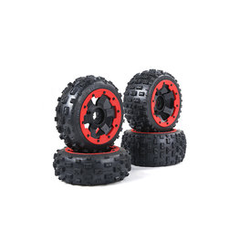 Rovan New knobby wheel set (4pcs/set) 170x80+170x60 met zwarte of rode beadlocks