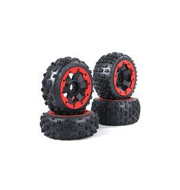 Rovan Sports New knobby wheel set (4pcs/set) 170x80+170x60 met zwarte of rode beadlocks