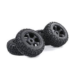 Rovan BAHA 5B 3rd gen. Wasteland / Knobby tire set with black rims and several colors beadlocks 80x195+75x195 (4pcs)