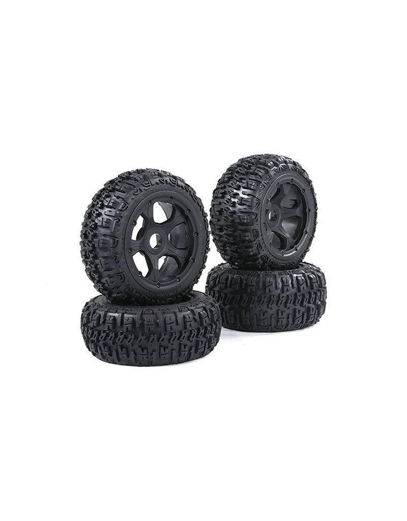 Rovan BAHA 5B 3e gen. Wasteland / Knobby banden set met zwarte velgen en verschillende kleuren beadlocks 80x195 + 75x195 (4 stuks)