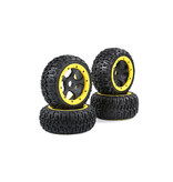 Rovan BAHA 5B 3rd gen. Wasteland / Knobby tire set with black rims and several colors beadlocks 80x195+75x195 (4pcs)