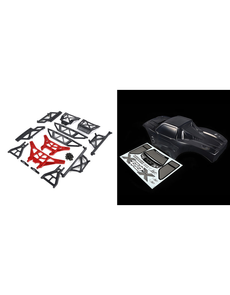 RovanLosi ROVAN LT / LOSI 5ive-T modified X-LT car shell kit (transparent shell wit red or blue metal parts)