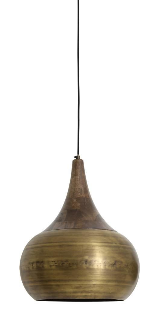 Light&Living Hanglamp Ø35x46 cm SAIDA brons met houten kop