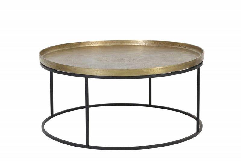 Light&Living Salontafel Ø89x42 cm SERENA ruw antiek brons+mat zwart