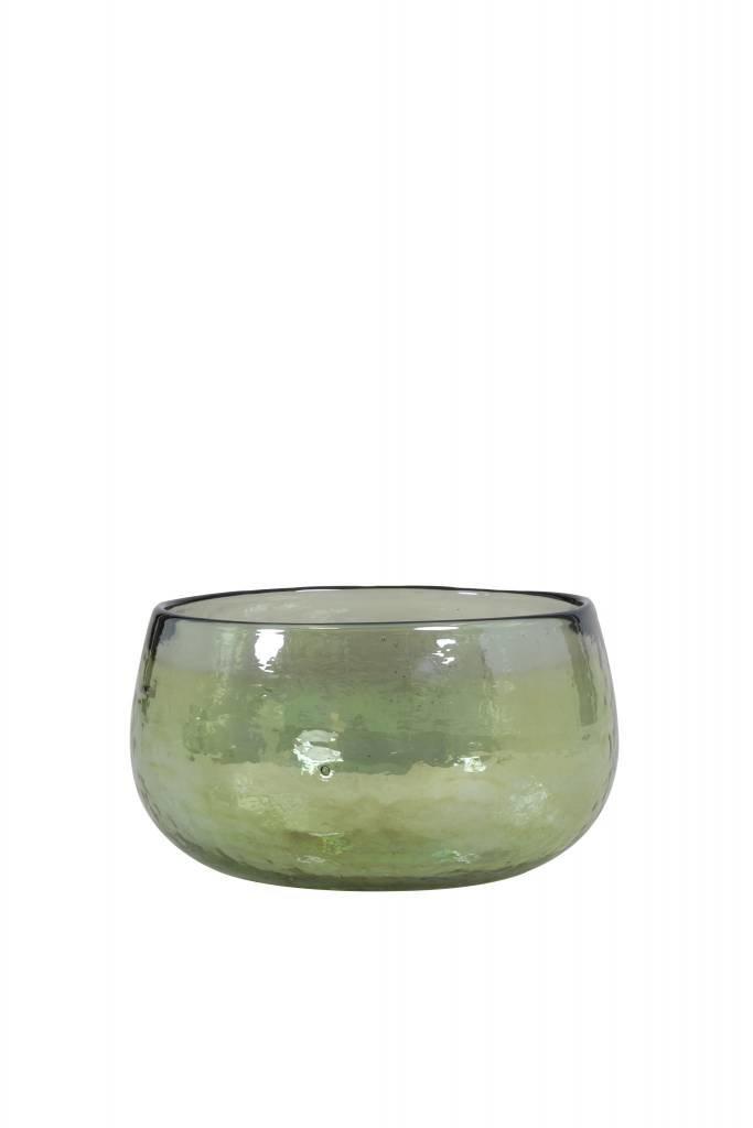 Light&Living Vaas Ø14x8 cm LAROT glas olijf groen