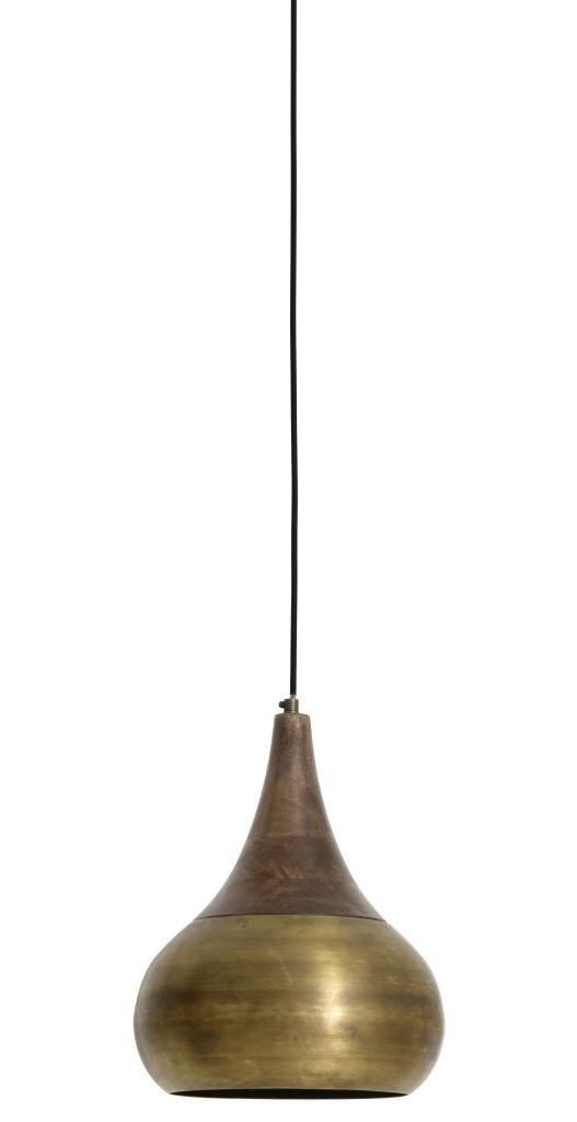 Light&Living Hanglamp Ø28x35 cm SAIDA brons met houten kop