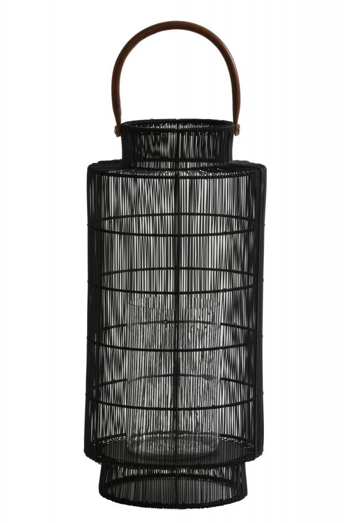 Light&Living Lantaarn Ø24x52 cm TEGLIO draad mat zwart met hendel