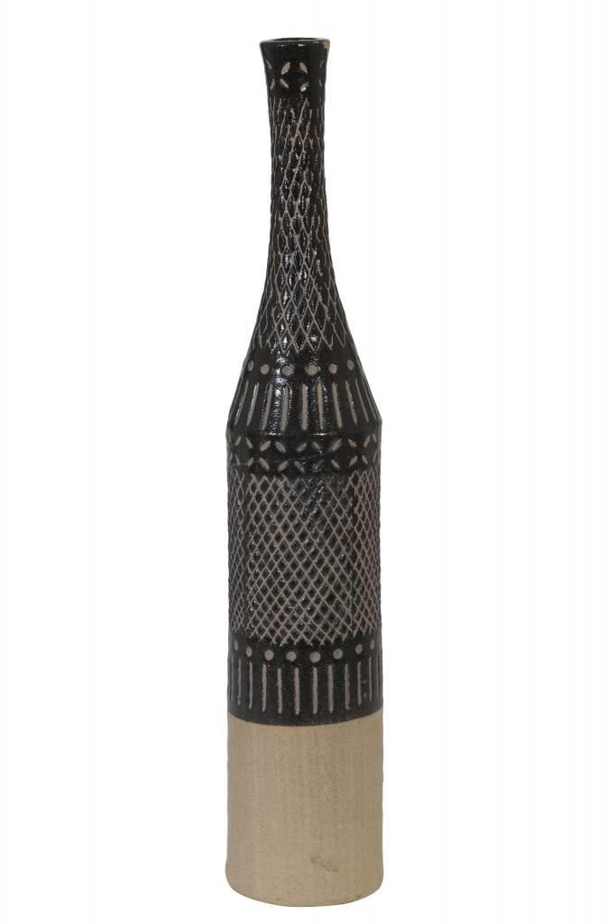 Light&Living Vase deko Ø13x69,5 cm MILAS dunkel braun-braun