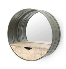 By-Boo Round mirror with compartment - green