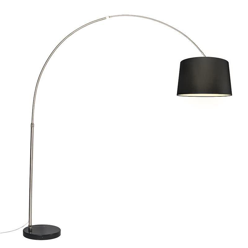 QazQa Bogenlampe XXL Stahlschirm 45 cm abgewinkelt schwarz