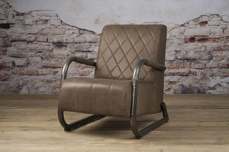 Sidd Ranch fauteuil - leder taupe