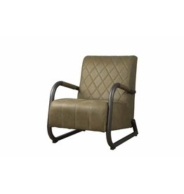 Sidd Ranch fauteuil - leder olive