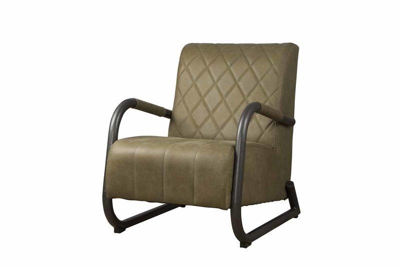 Sidd Ranch fauteuil - leder olive