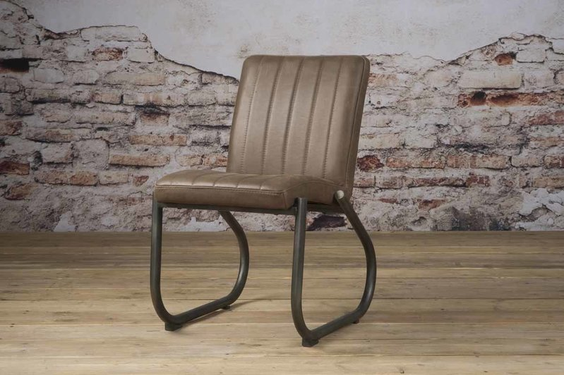 Sidd Texas stoel - leder taupe
