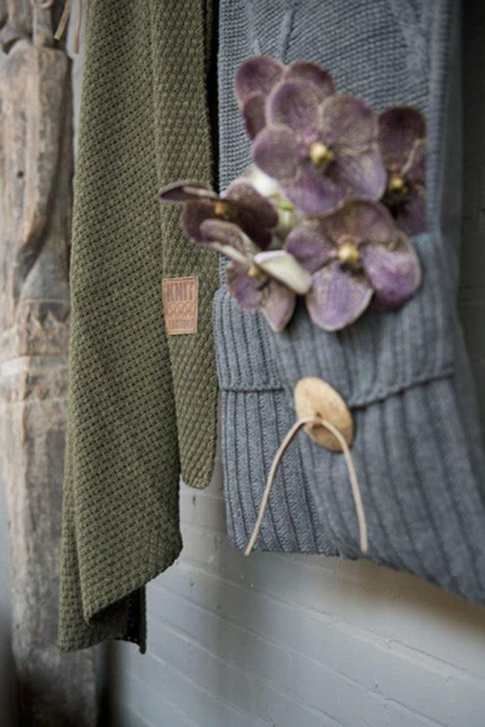 Knit Factory Knit Factory Aran Pocket Stone Green