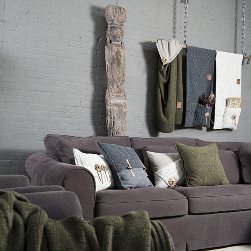 Knit Factory Knit Factory Aran Kussen 60x40 Stone Green