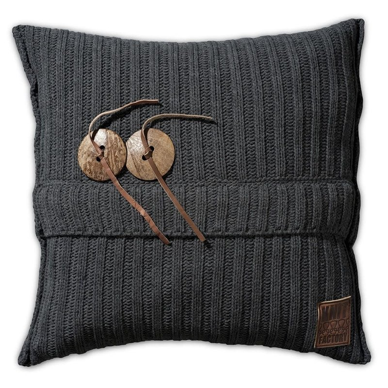 Knit Factory Knit Factory Aran Kussen 50x50 Antraciet