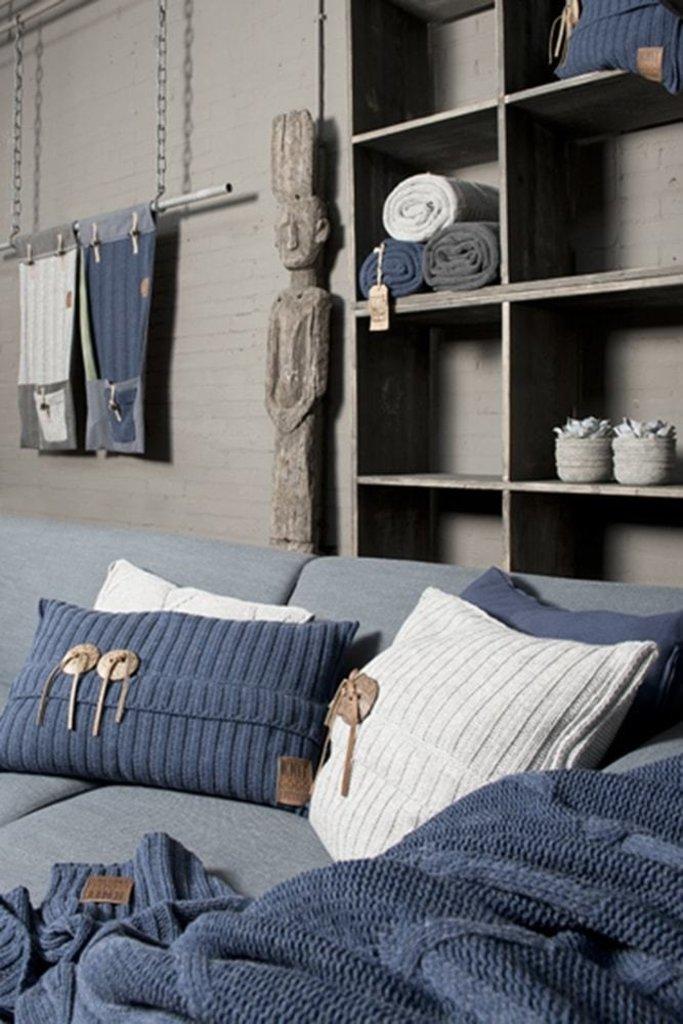 Knit Factory Knit Factory Aran Kussen 60x40 Licht Grijs