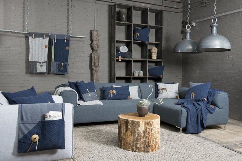 Knit Factory Knit Factory Aran Kussen 60x40 Jeans
