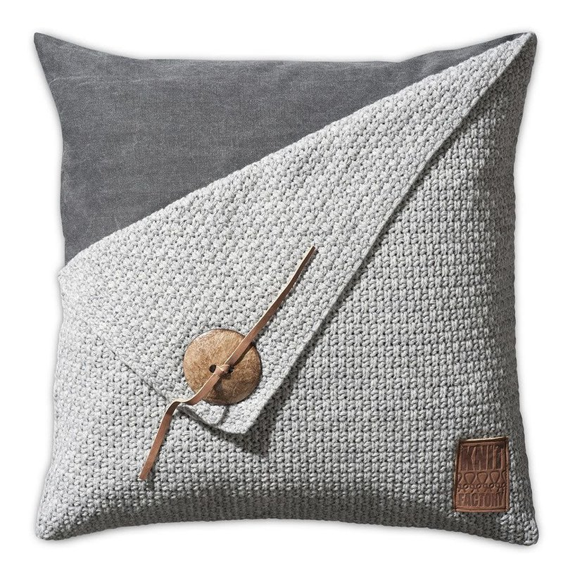 Knit Factory Knit Factory Barley Kussen 50x50 Licht Grijs