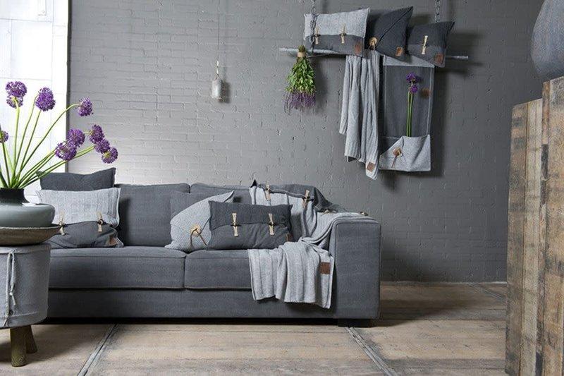 Knit Factory Knit Factory 6x6 Rippe Kissen 60x40 Dunkel Blau