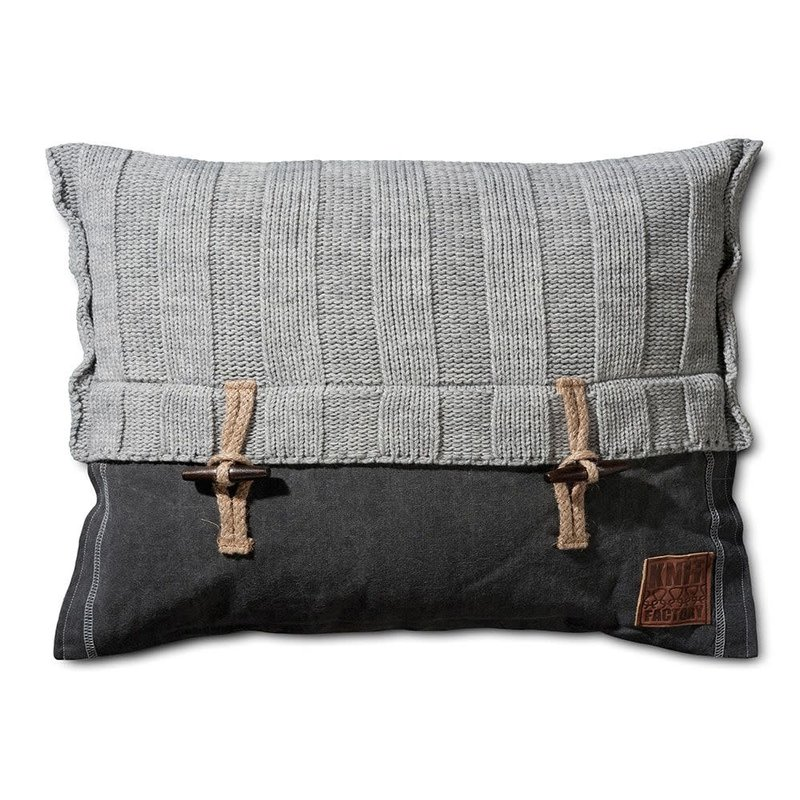 Knit Factory Knit Factory 6x6 Rippe Kissen 60x40 Grau