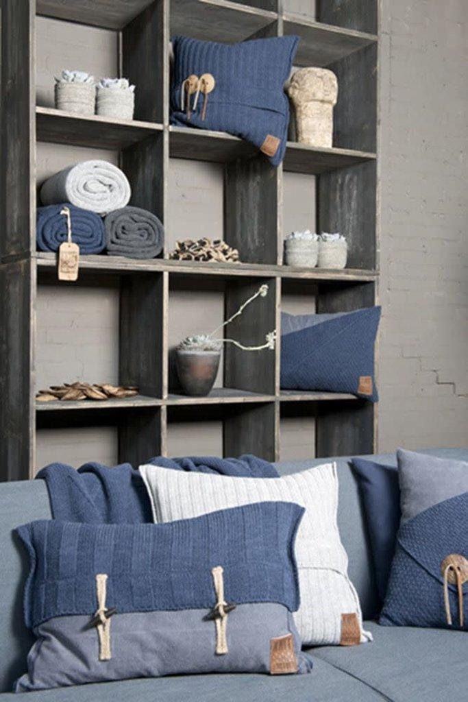 Knit Factory Knit Factory 6x6 Rib Kussen 60x40 Licht Grijs