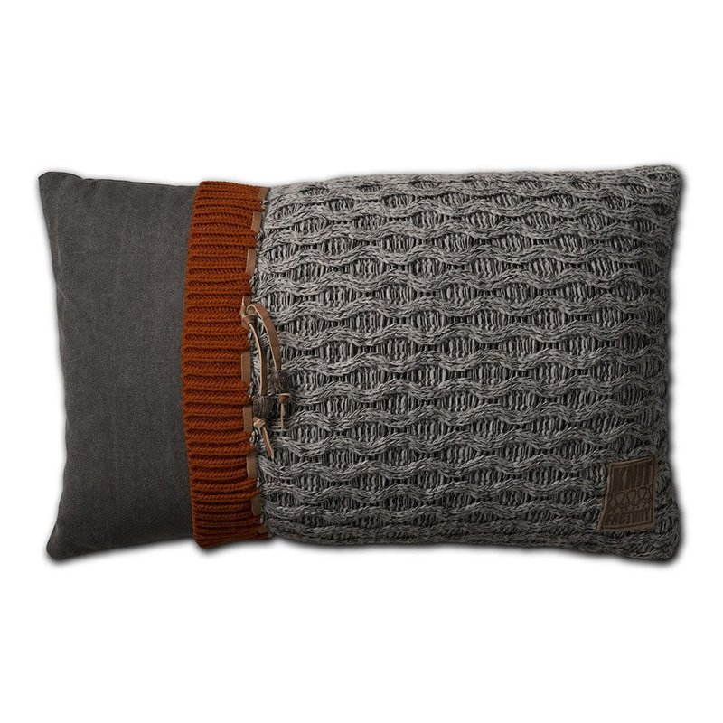 Knit Factory Knit Factory Joep Kussen 60x40 Licht Grijs Mêlee