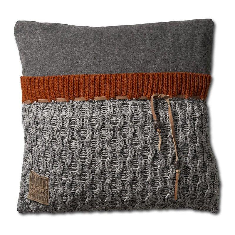 Knit Factory Knit Factory Joep Kussen 50x50 Licht Grijs Mêlee