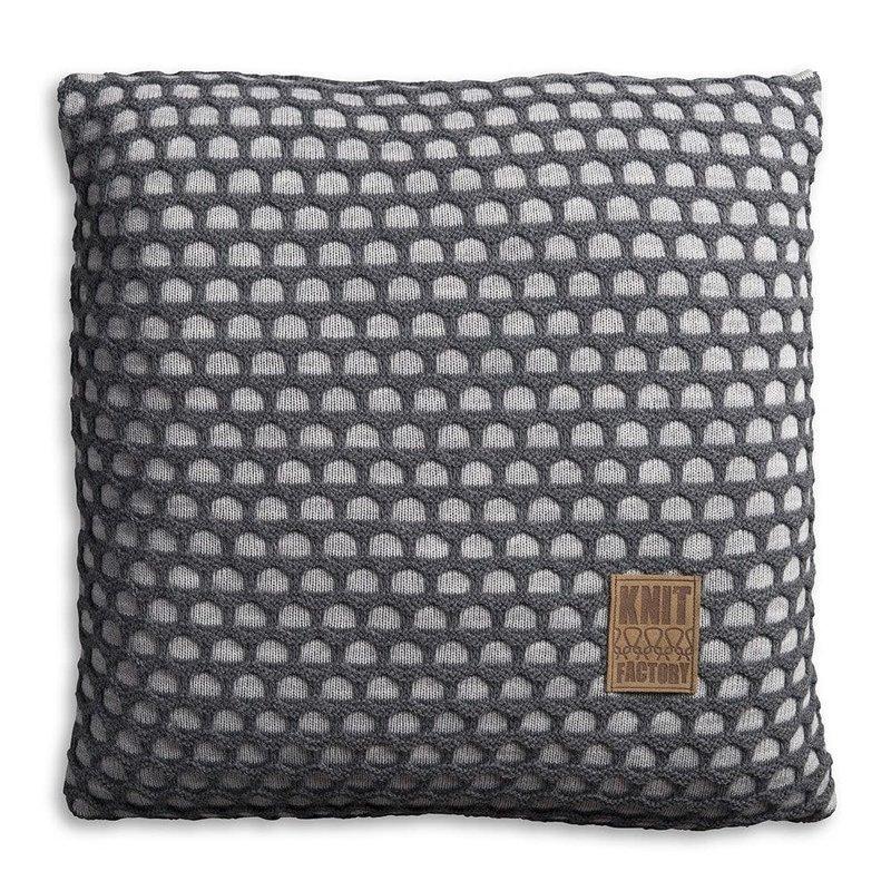 Knit Factory Knit Factory Mila Kussen 50x50 Licht Grijs/Antraciet