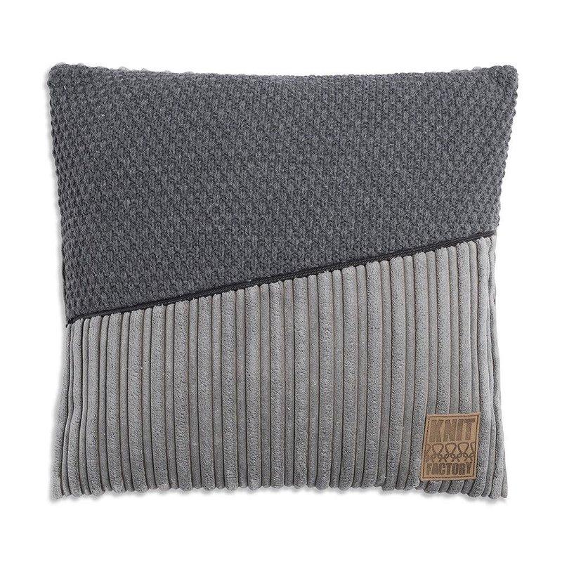 Knit Factory Knit Factory Sam Kussen 50x50 Licht Grijs/Antraciet