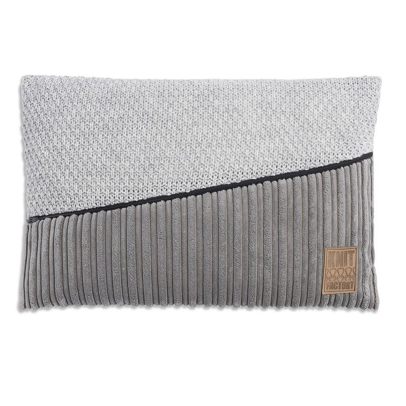 Knit Factory Knit Factory Sam Kussen 60x40 Licht Grijs/Licht Grijs