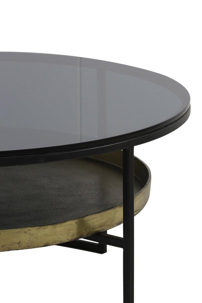 Light&Living Couchtisch Ø88x40 cm ROWDY glas schwarz+antik bronze