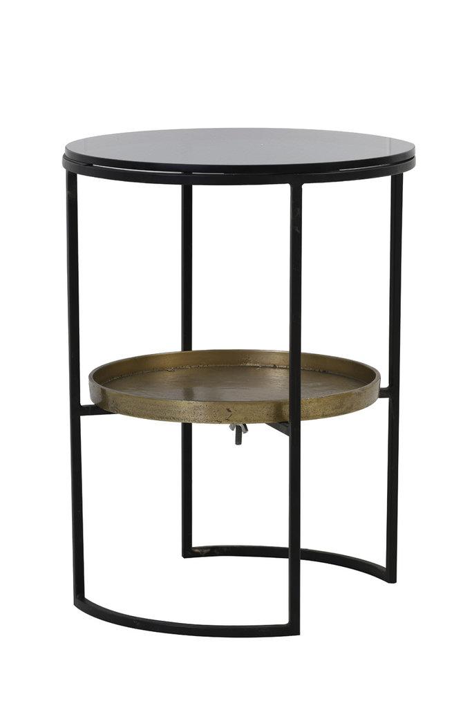 Light&Living Bijzettafel Ø43x57 cm ROWDY glas zwart+antiek brons