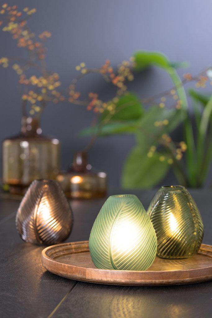 Light&Living Tafel lamp LED 13,5x15 cm LEAF glas bruin