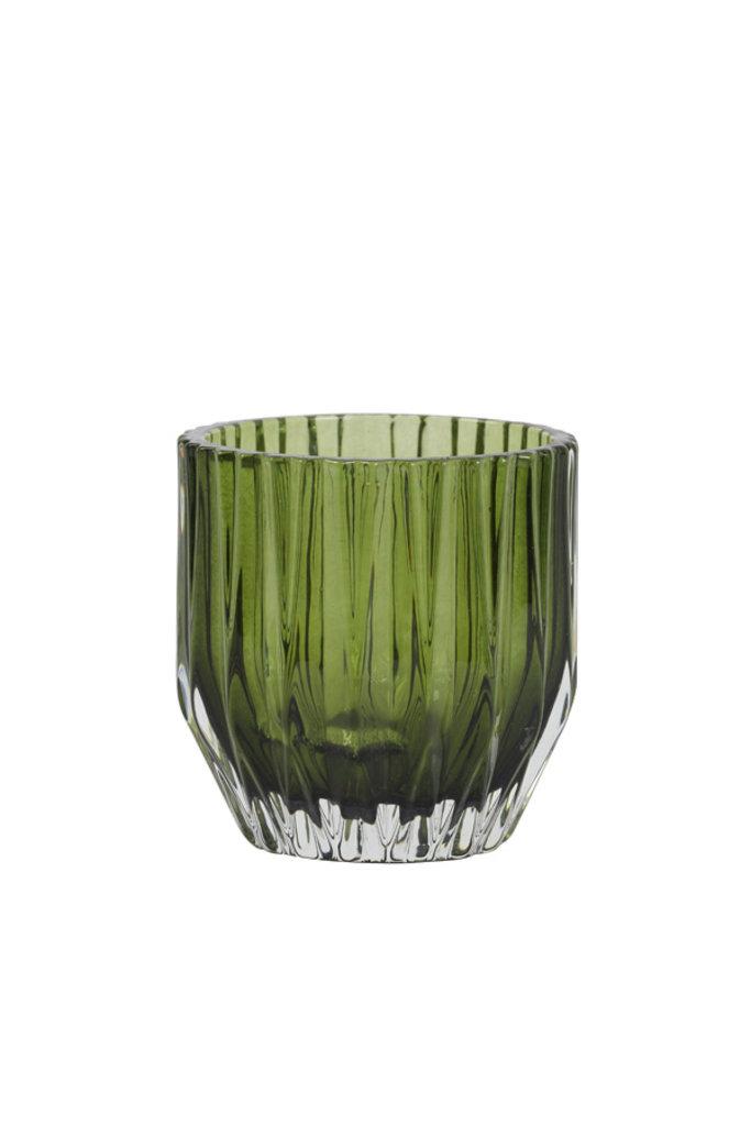 Light&Living Theelicht Ø10x10,5 cm HARPER glas olijf groen