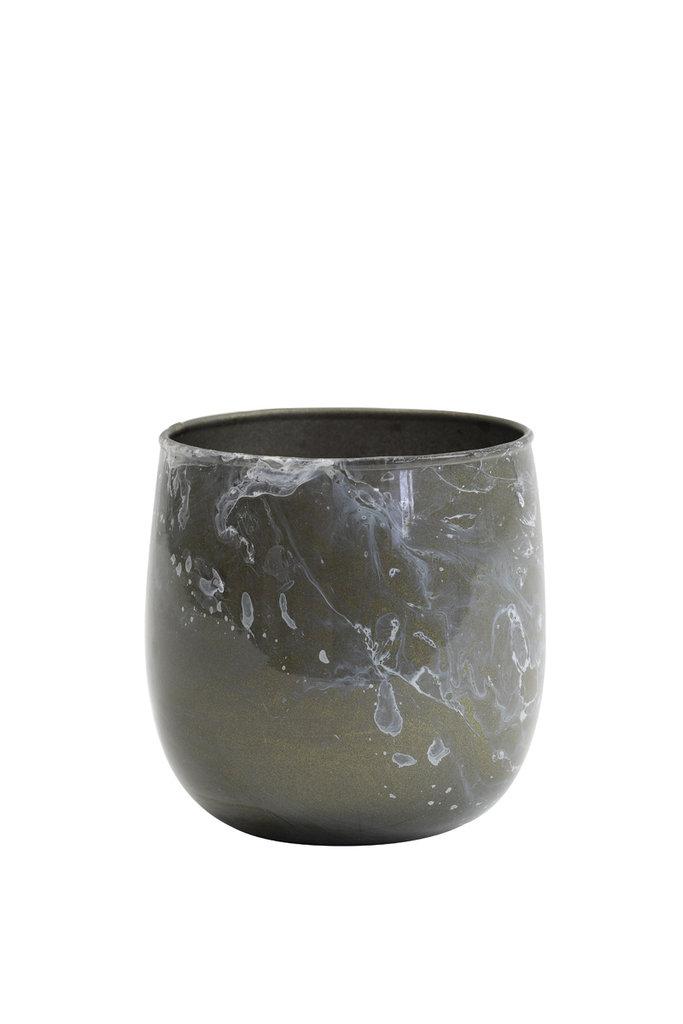 Light&Living Teelicht Ø8x8 cm AVILA grau marmor weiß