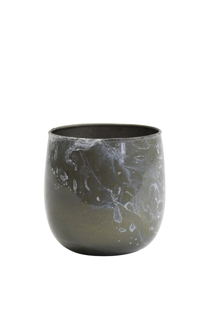 Light&Living Theelicht Ø8x8 cm AVILA grijs marmer wit