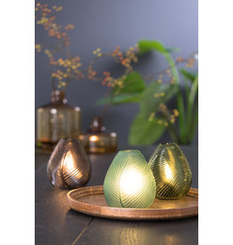 Light&Living Tisch lampe LED LEAF glas dunkel grün 15 cm