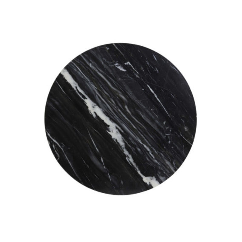 Light&Living Bijzettafel Ø60x41 cm LOMELO marmer zwart-antiek brons