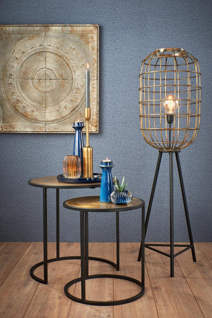 Light&Living Bijzettafel S/2 max Ø50x52cm KOME ant,brons gehamerd-m,zwart