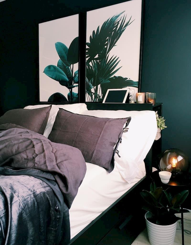 slaapkamer met diepgroene tinten