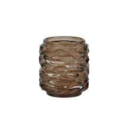 Light&Living Theelicht Ø9x10cm GINGER glas donker bruin
